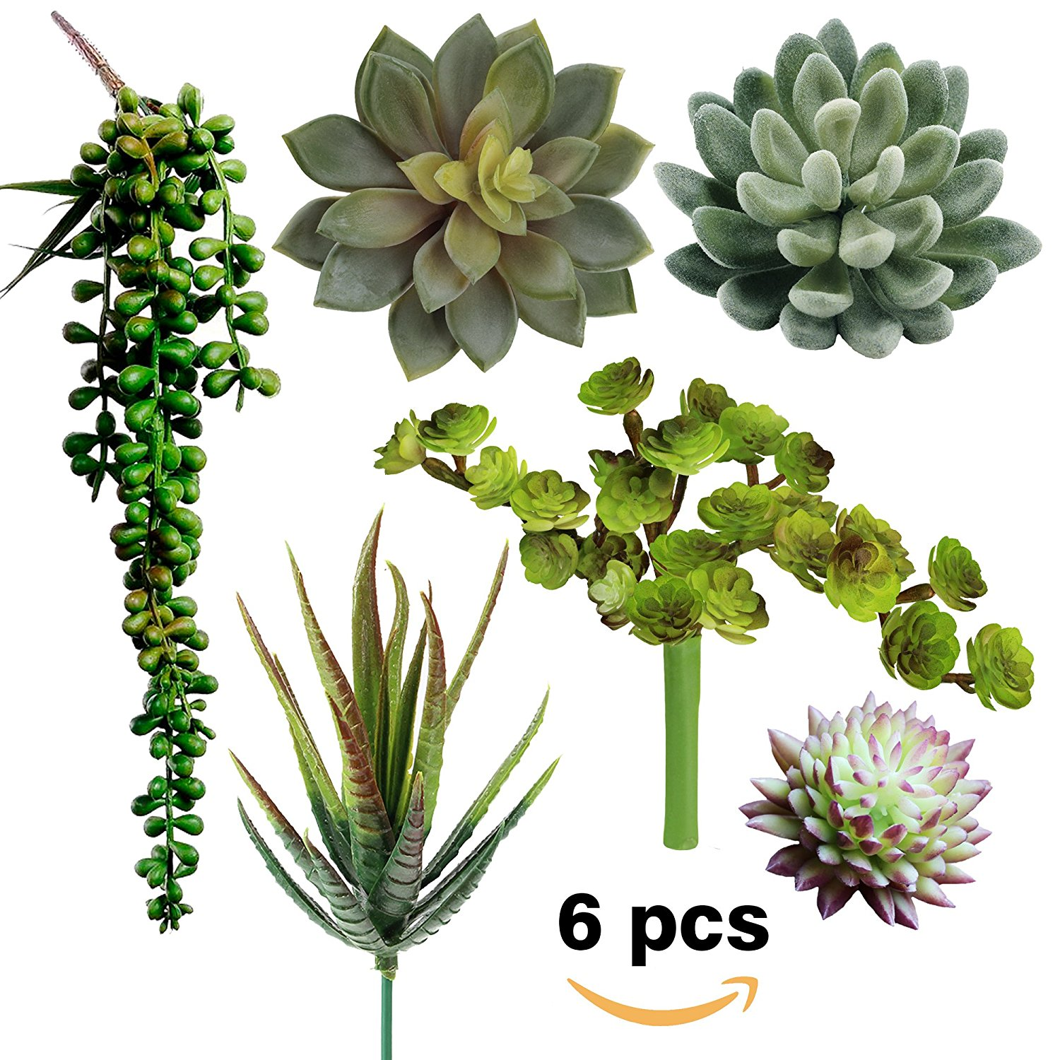 Supla Pack Of 6 Assorted Artificial Succulents Picks Textured Faux Succulent Pick Succulent Stems Fake Succulent Bouquet String Of Pearls Succulent Faux Succulent Floral Arrangement Accent Supla